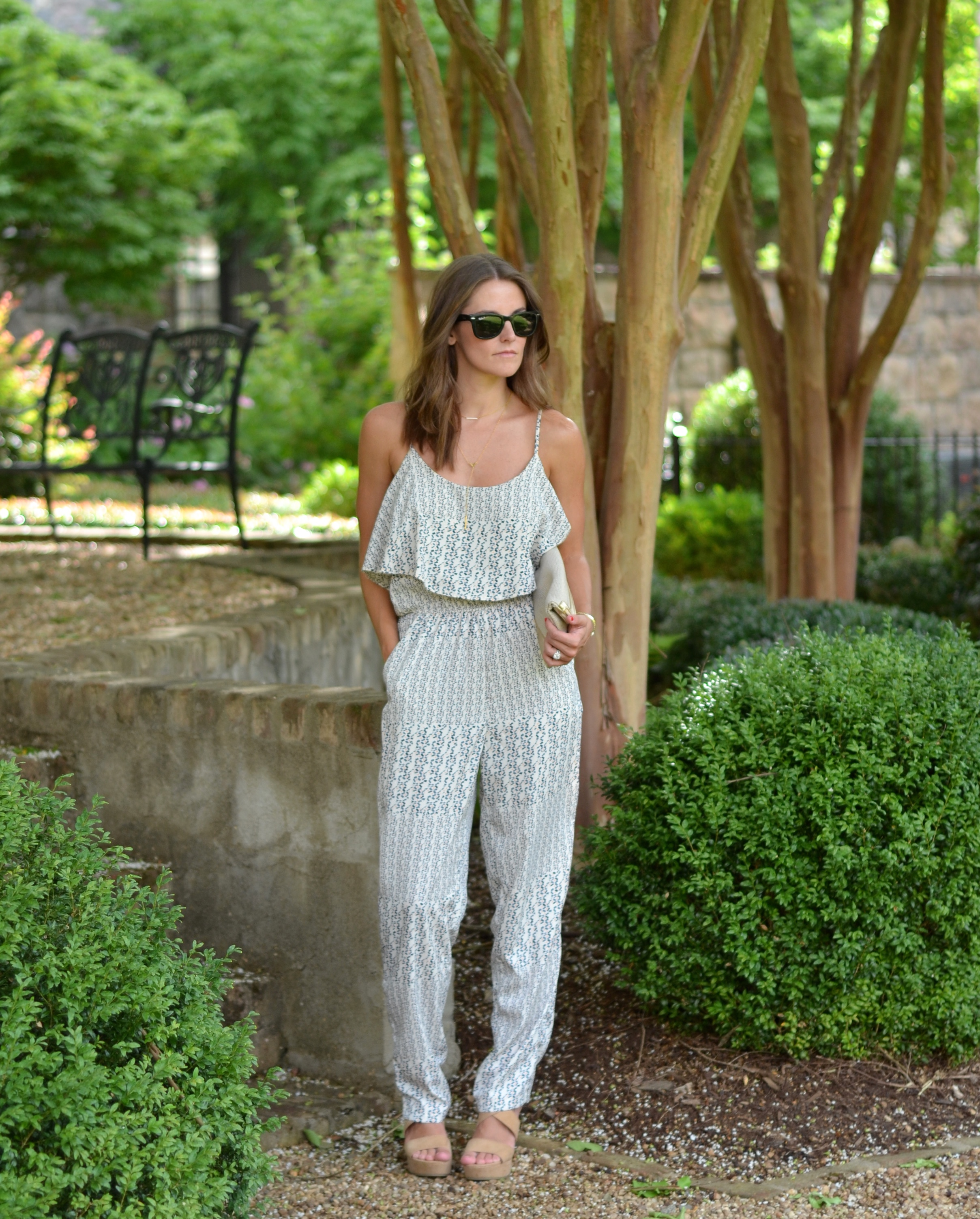 Fashion Blogger Ruffled Romper Summer Jumpsuit Gorjana Layered Necklaces