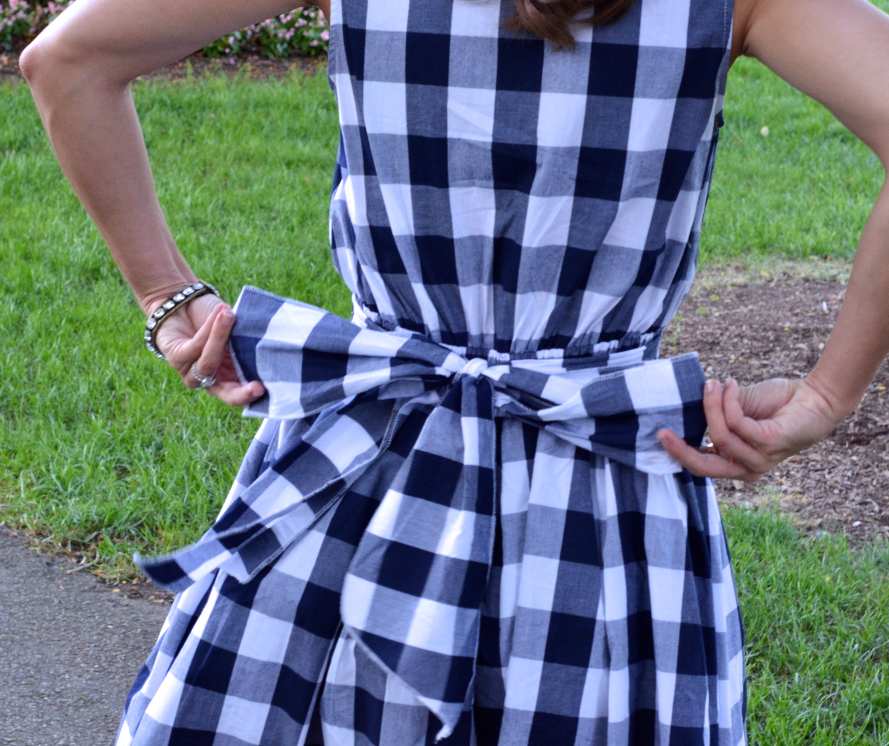 blue gingham dress with bow
