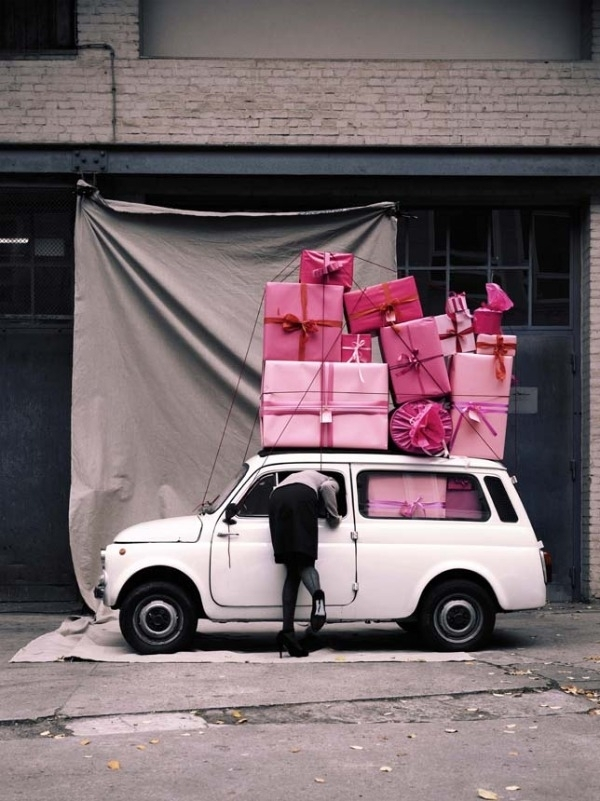 pink gifts in car