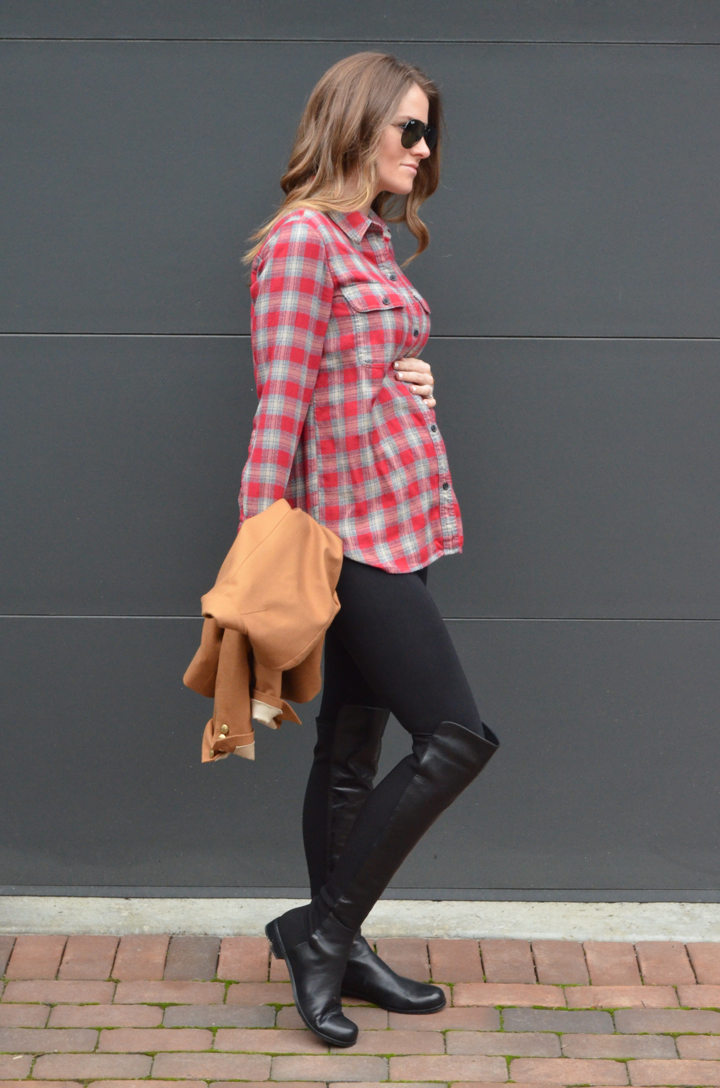 23 weeks pregnant outfit maternity style blogger plaid stuart weitzman boots