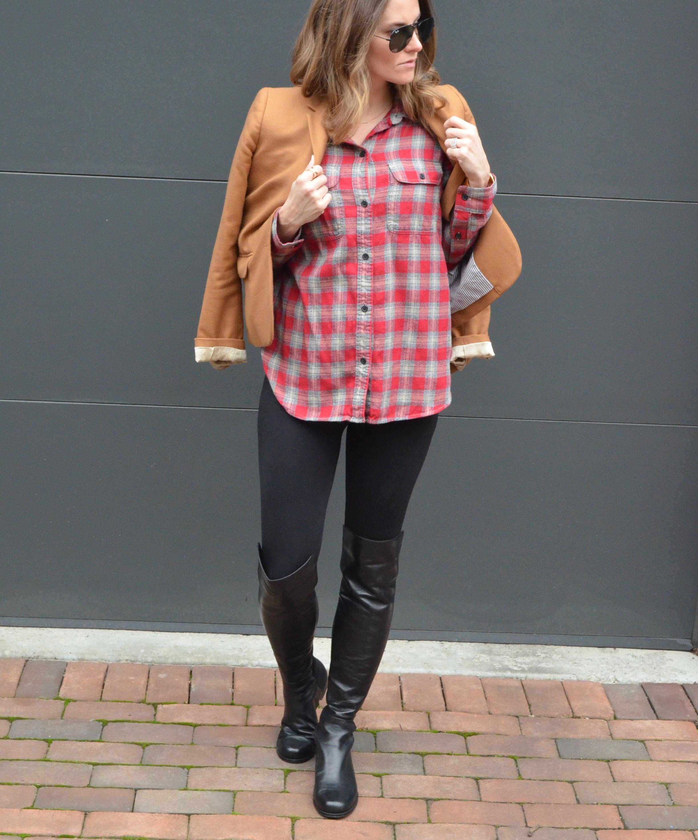 plaid stuart weitzman 5050 boots pregnant blogger maternity style