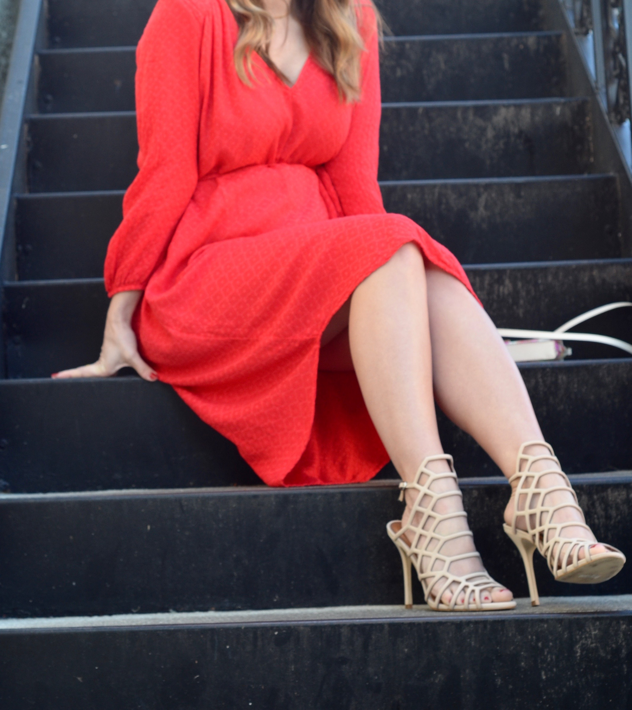 steve madden slither nude heels red dress outfit