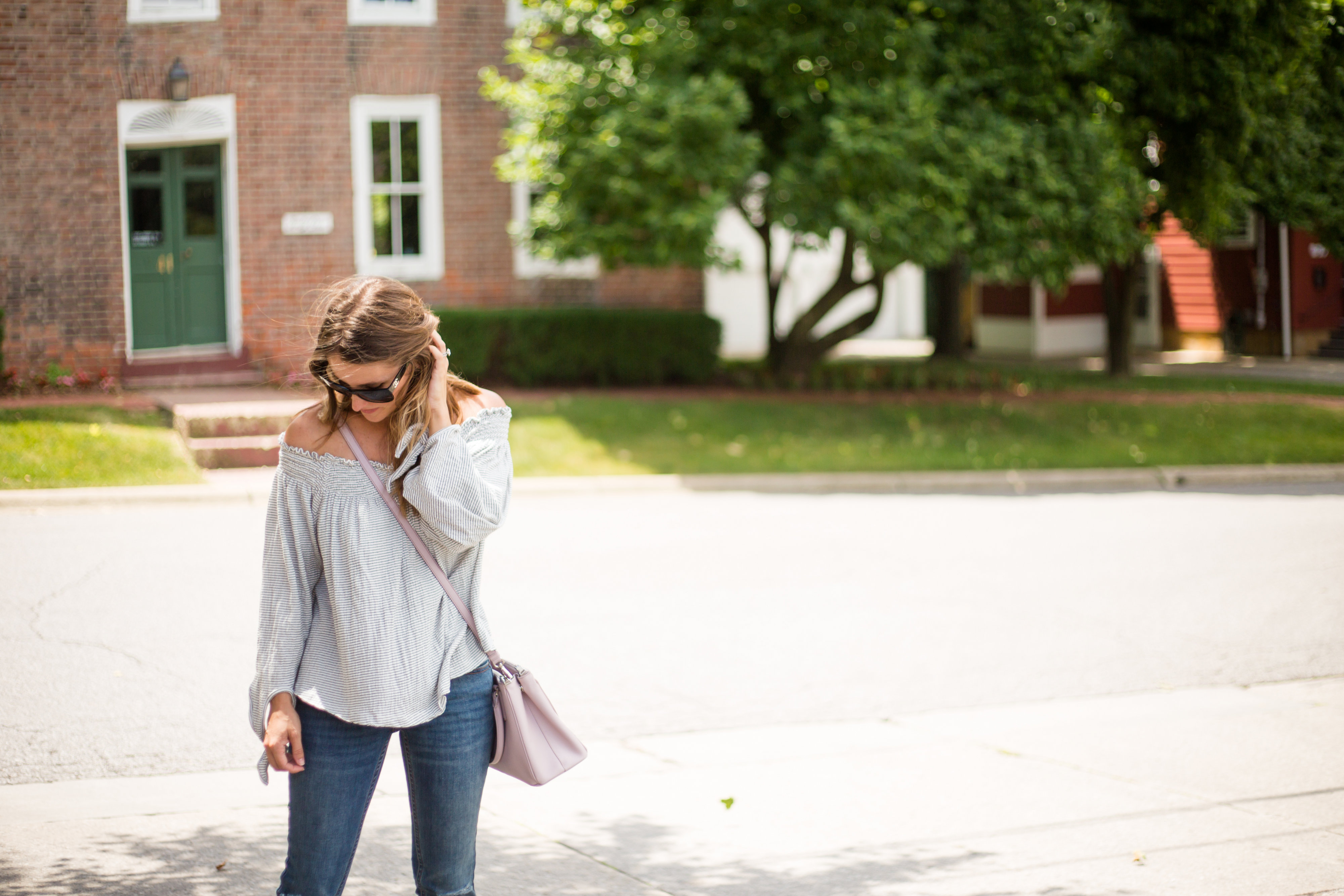 blush prada bag fall outfit inspo off the shoulder top