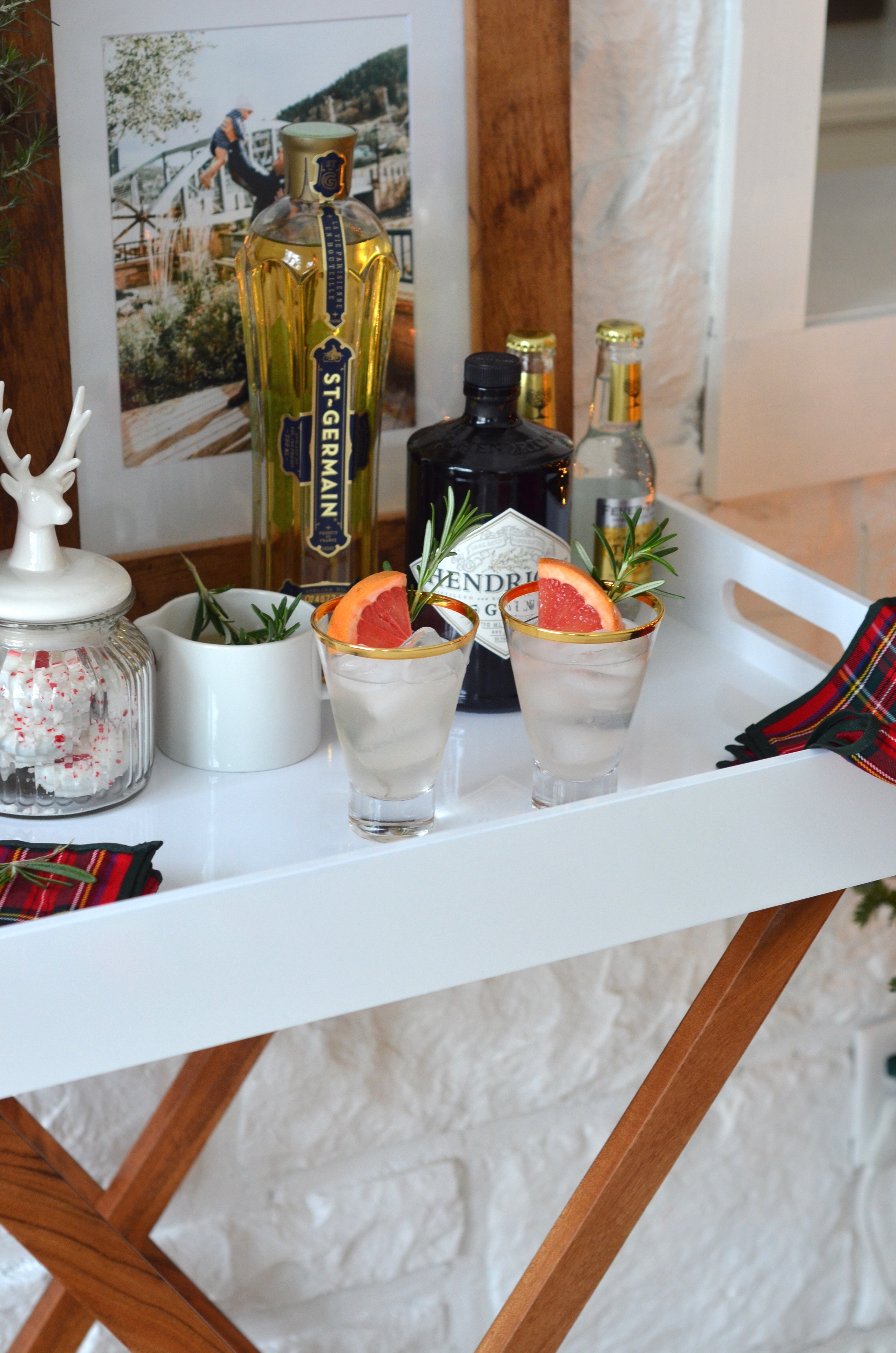 champagne in the rain holiday bar cart decor