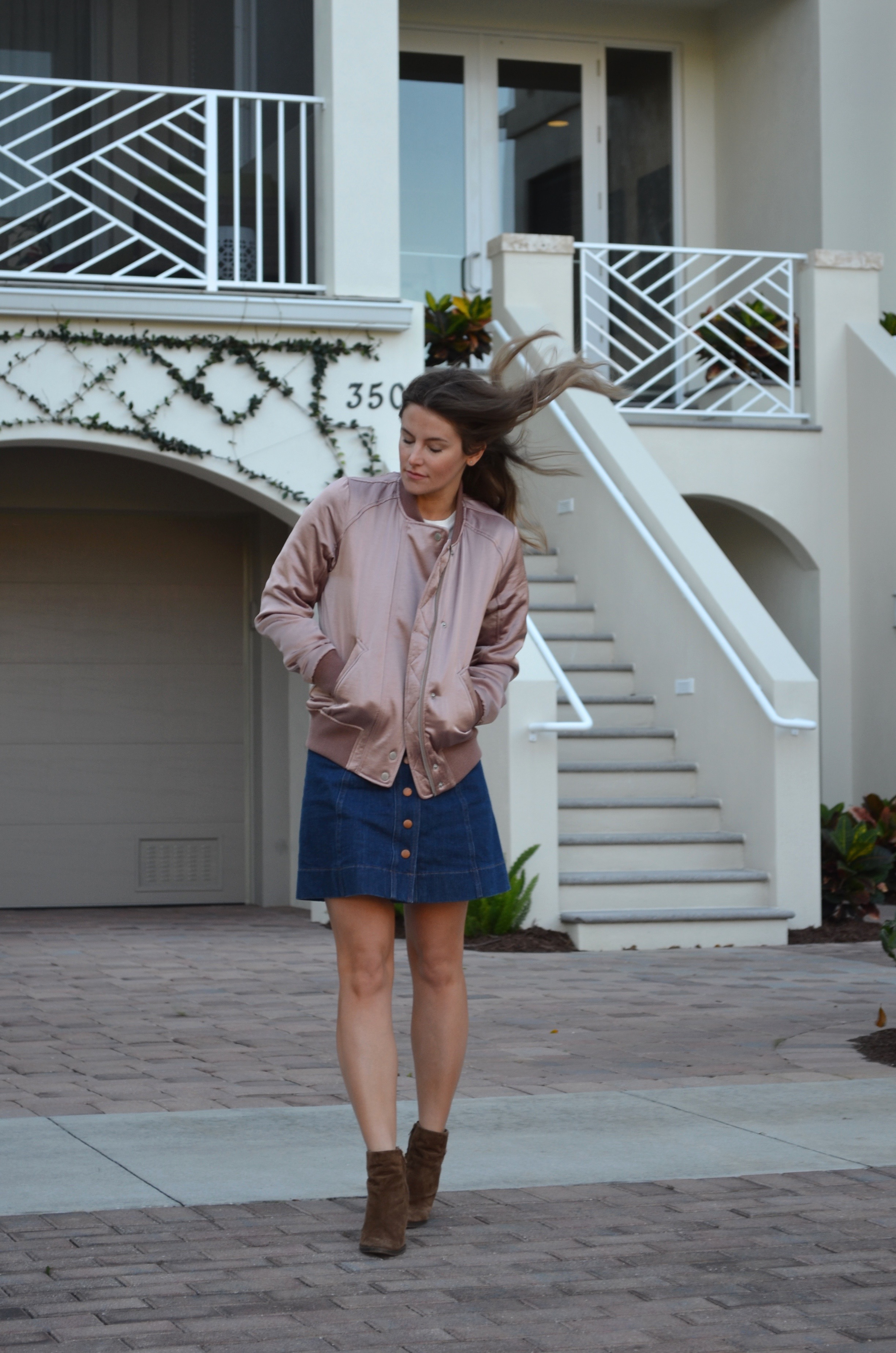 pink satin bomber outfit jean skirt abercrombie