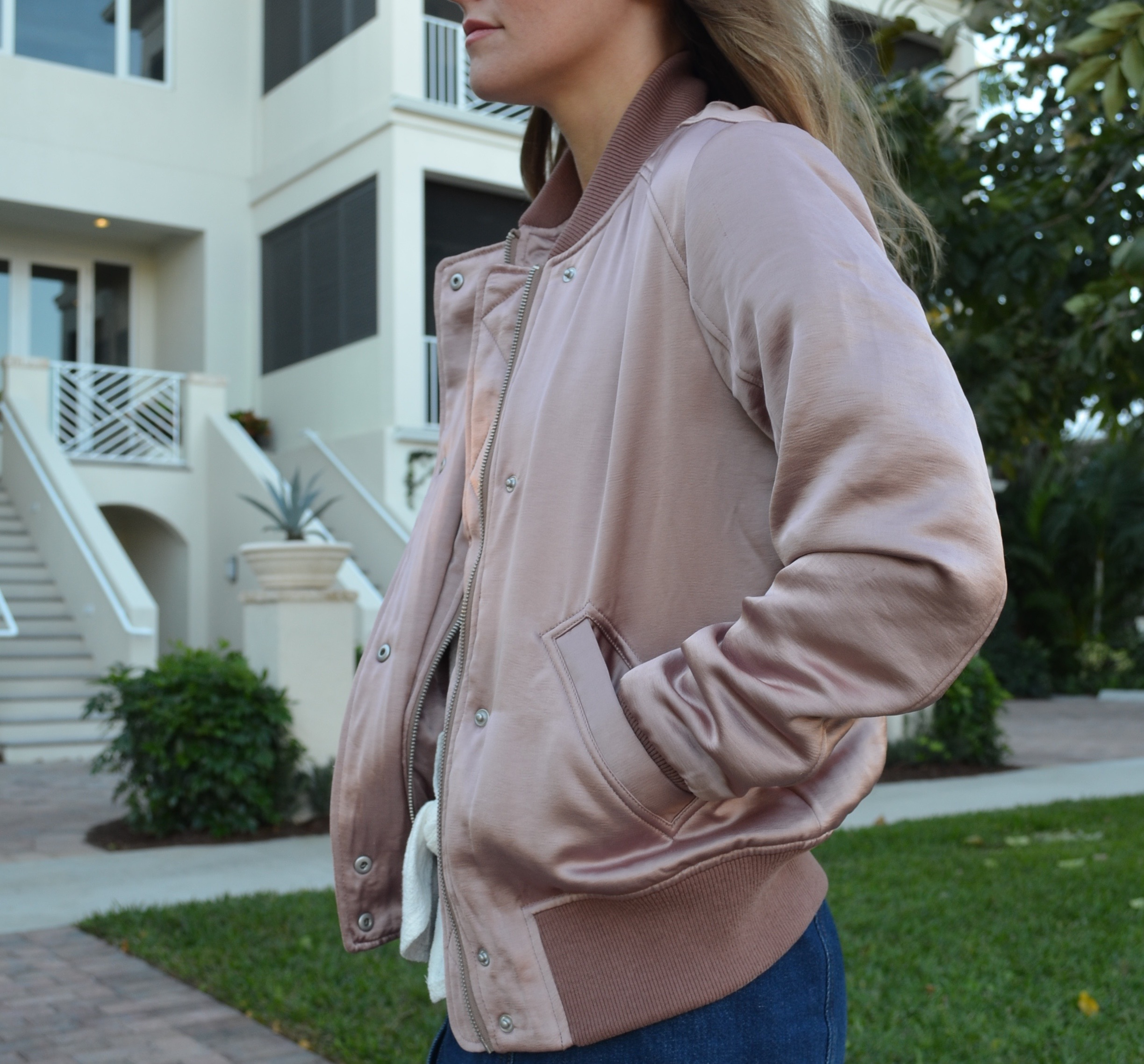 pink satin bomber valentines day outfit
