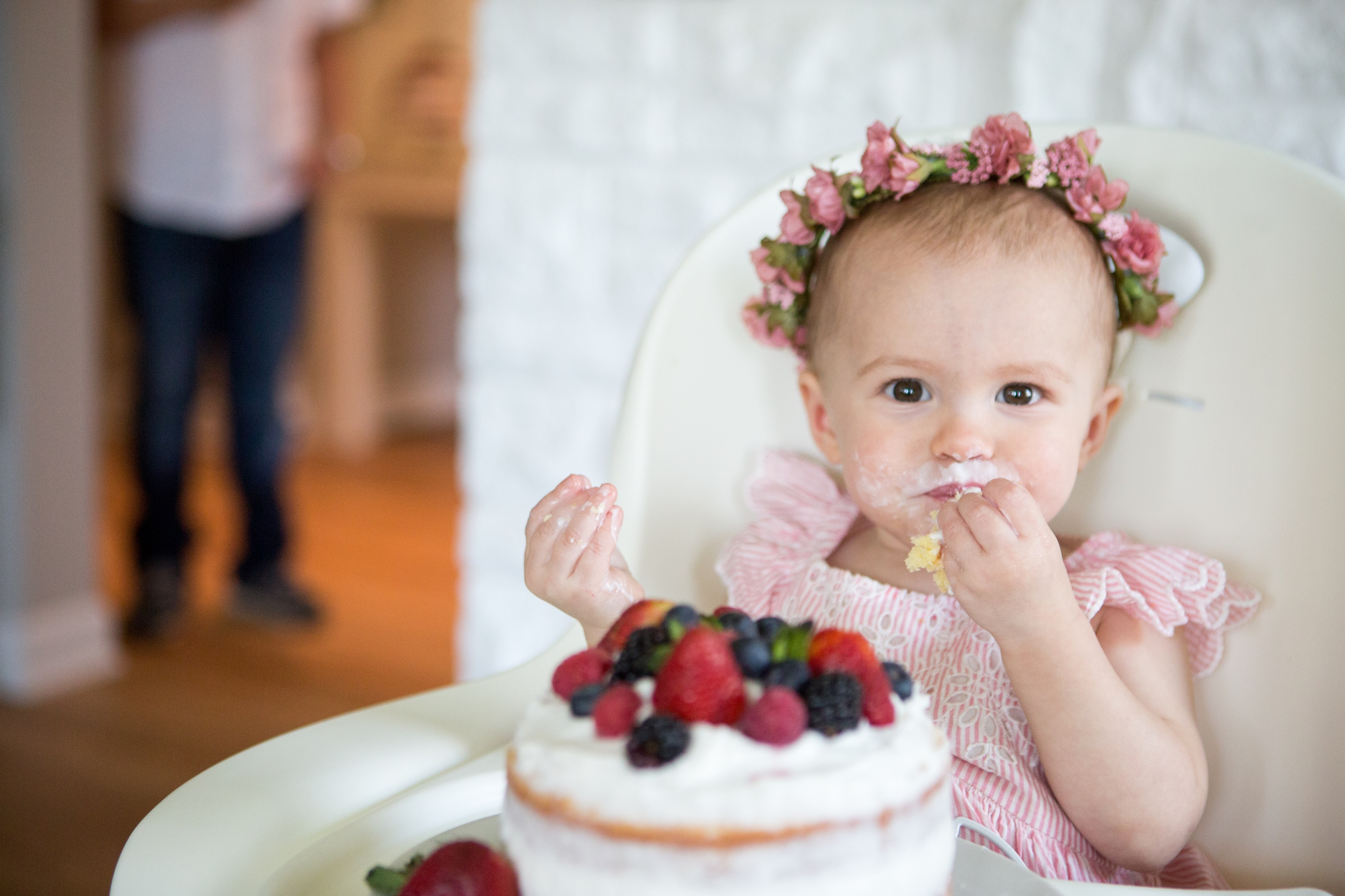 first birthday party smash cake baby flower crown
