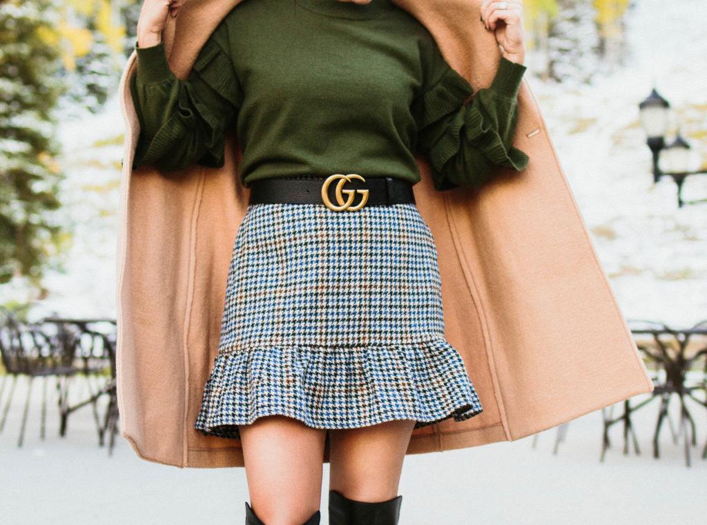 gucci gg belt outfit camel coat