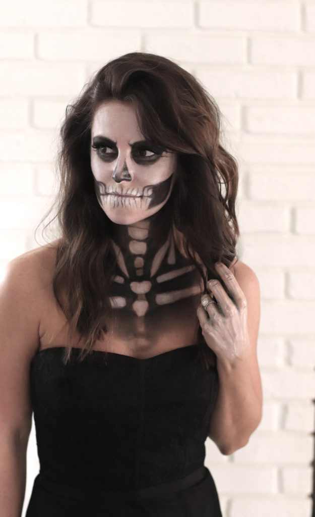 sexy skeleton halloween makeup tutorial champagne in the rain