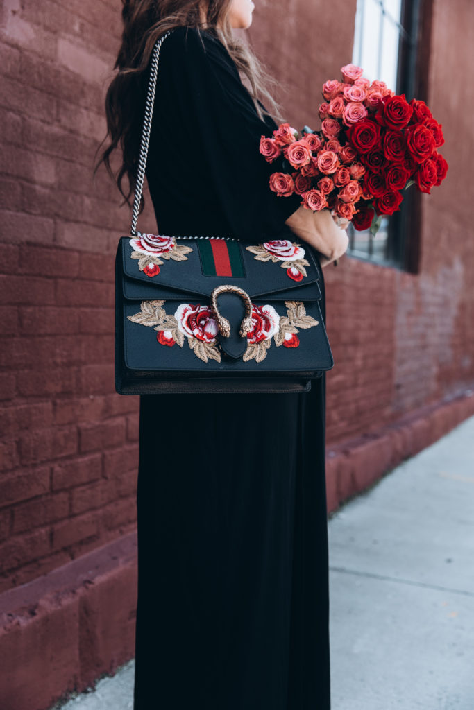black gucci floral bag